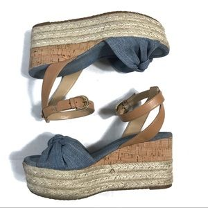 Michael Kors Maxwell Denim Espadrille Cork Wedge